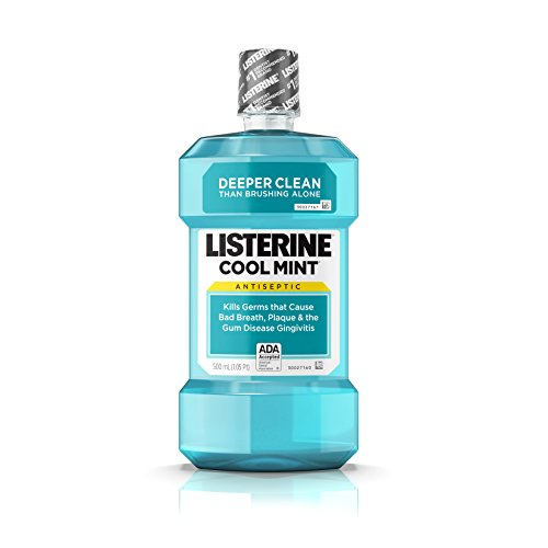 Listerine Cool Mint Antiseptic Mouthwash for Bad Breath, Plaque and Gingivitis, 500 ml