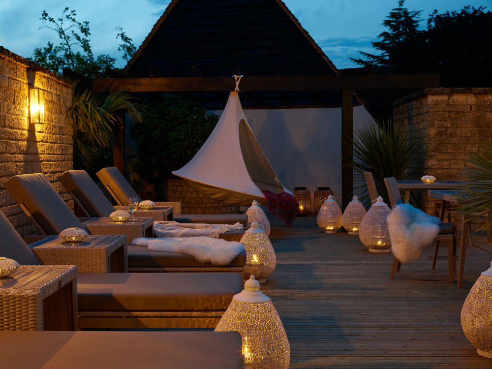 Outside Terrace with Hammock spa of the week Lygon Arms the cotswolds by healthista