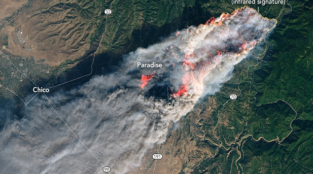 NASA Earth Observatory image of Camp fire by Joshua Stevens