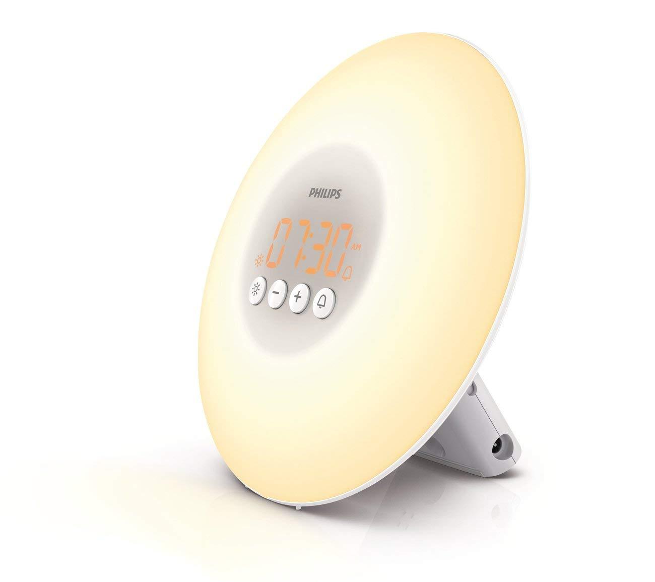 Image result for Philips Wake-Up Light Alarm Clock with Sunrise Simulation, White (HF3500/60)
