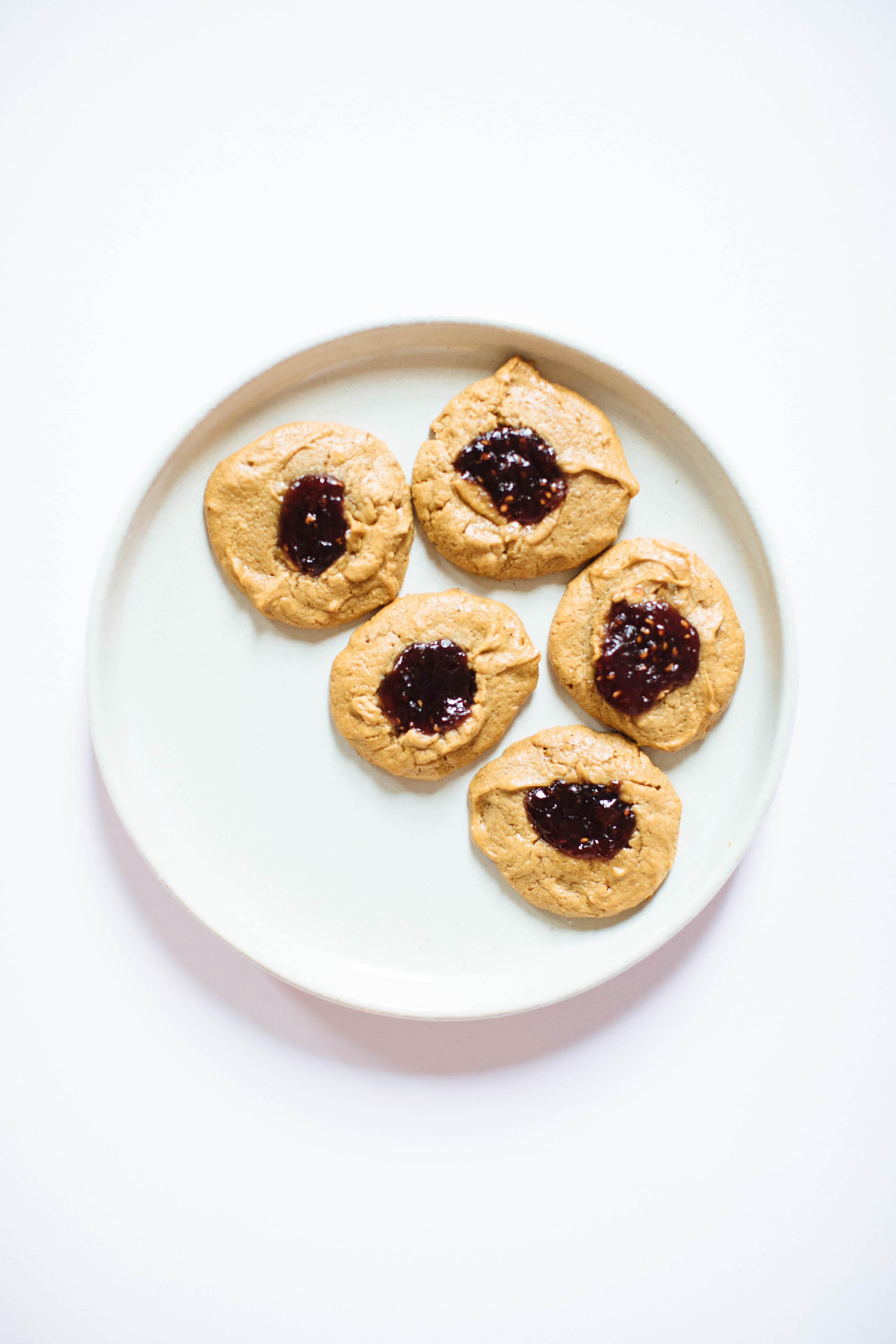Cashew Butter Raspberry Thumbprint Cookies | Nutrition Stripped