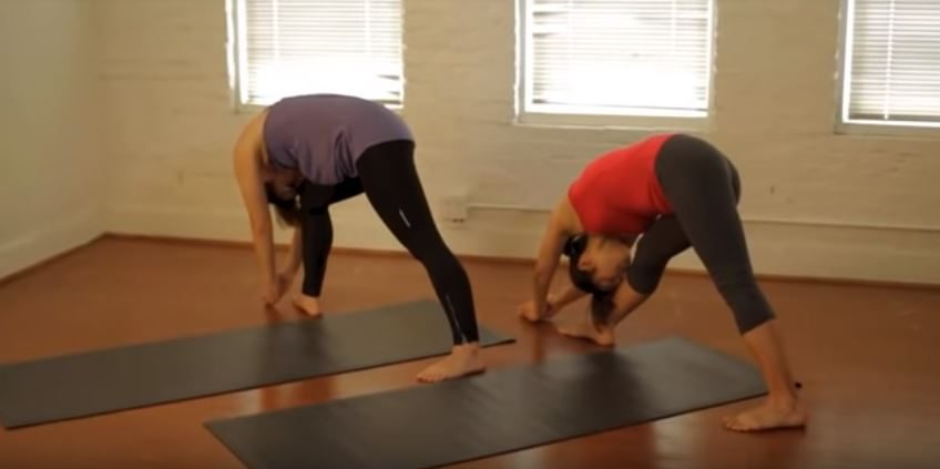 Standing separate leg Forehead to Knee Pose