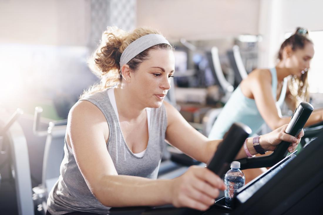 women on exercise bikes at gym