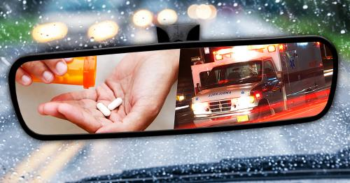 a wet road with oncoming cars on a rainy day seen through car windshield with combined images of medicine and an ambulance in the rear view mirror