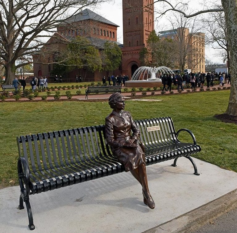 Rosa Parks is one of 11 statues in Hampton University's Legacy Park which was revealed as part of the university's annual Founders Day celebration (WYDaily Photo/ Courtesy of Hampton University)